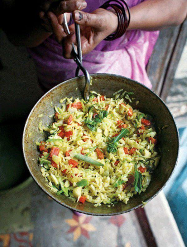 Gujarati Cabbage, Cabbage Sambharo, Spicy Slaw, Hot Slaw Recipe, Cabbage Recipe | SAVEUR