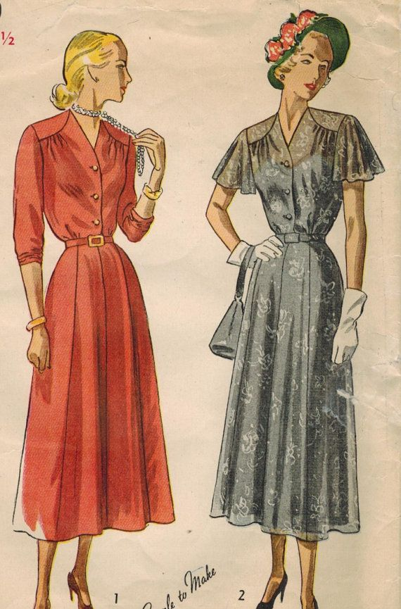 1940s Simplicity 2740 Vintage Sewing Pattern Afternoon Dress ...