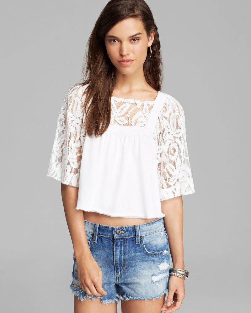 99a40f6b406e19 We The Free FREE PEOPLE LA LIVIN CATALINA TEE Ivory Lace Crop Top Boho  Hippie XS #FreePeople #CropTop #Casual