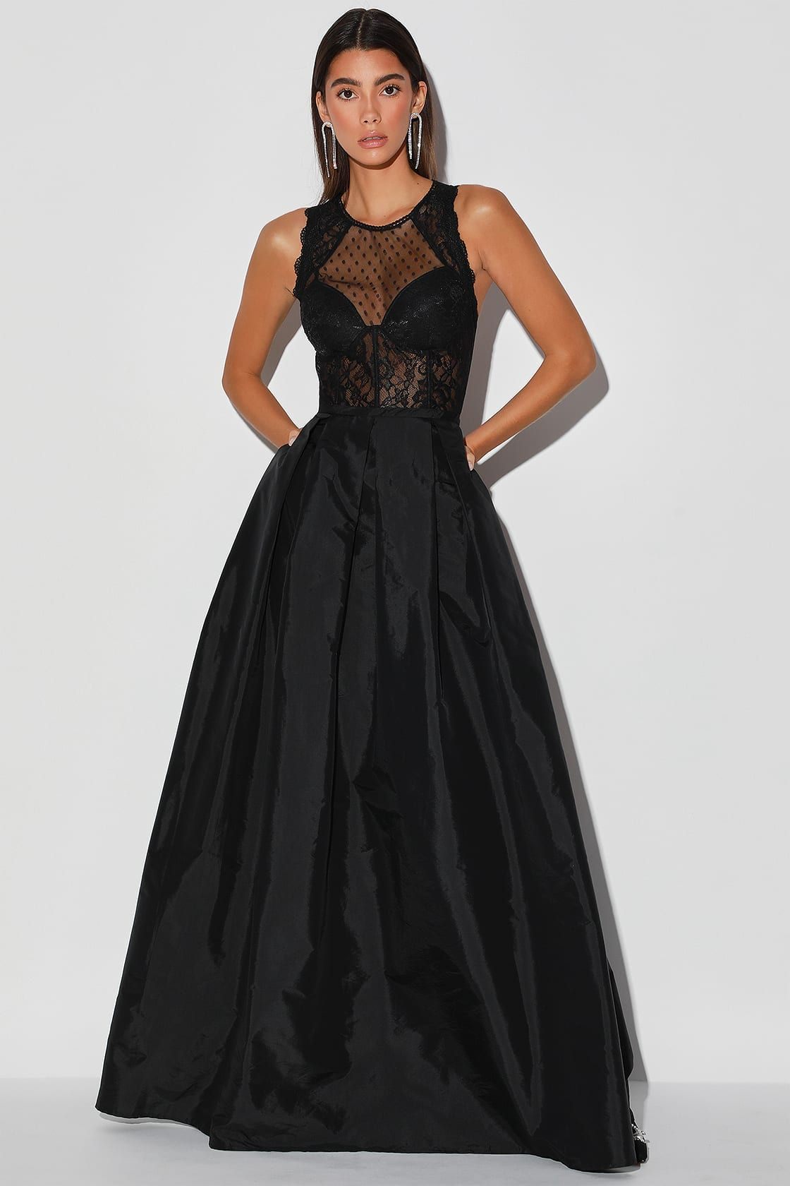 Beautiful illusion black lace bustier maxi dress in 2020