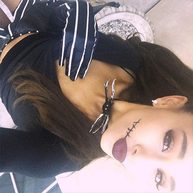 Pin for Later: Look Back at All of Last Year's Celebrity Halloween Costumes Ariana Grande as Jack Skellington