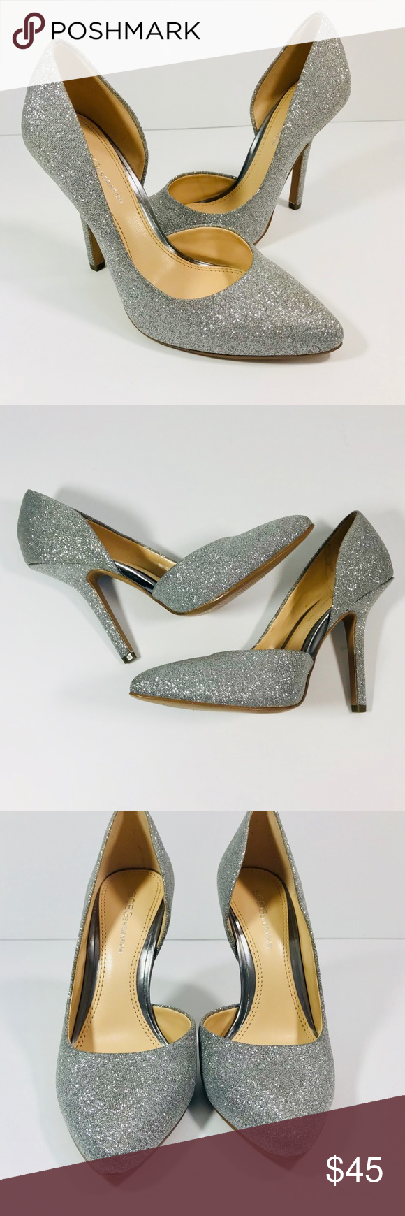 23198852b0e6 BCBG Silver Jaze Glitter Pump Formal Shoes BCBG Silver Glitter Pump Formal  Shoes 💯 original brand
