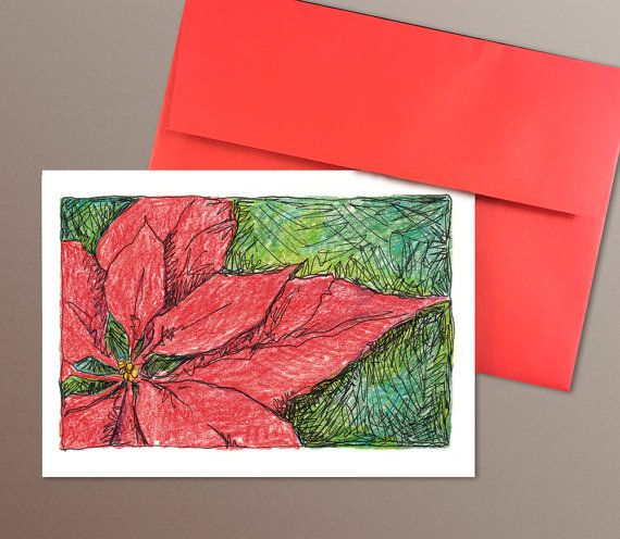 A7 Christmas Poinsettia Cards set of 8 mixed media by HASKINesque