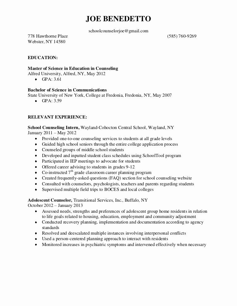 School Counseling Resume Examples Inspirational Pin by Sam