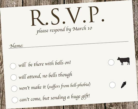 Ivory linen casual wedding invitation by designsbykepi for Wording for wedding invitations with rsvp