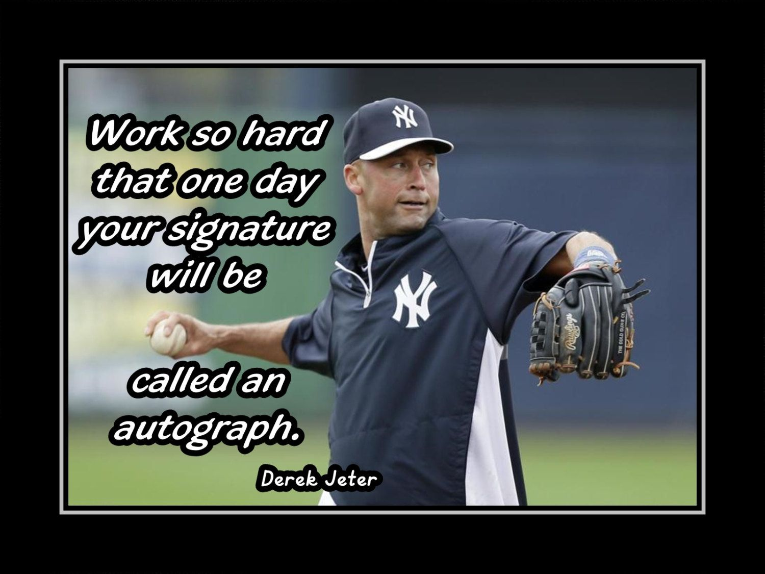 Baseball Poster Derek Jeter Poster Ny Yankees Photo Quote Wall Art