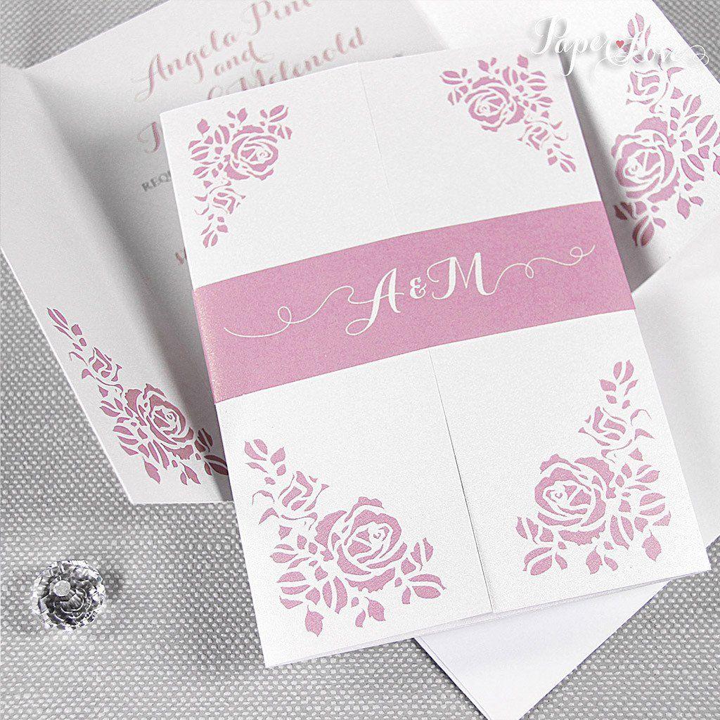 Amazing gatefold roses wedding day invitation with band colours