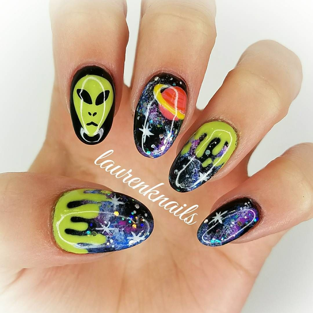 Galaxy Alien Space Slime Nail Art Alien Nails Nails Space Nails