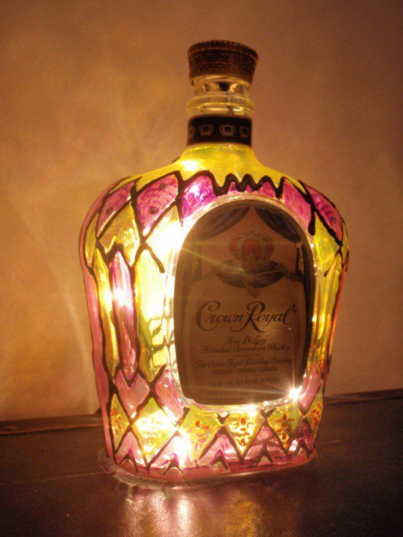Crown Royal Light Liquor Bottle Lamp Hand Painted. I Am SO Doing This  Tonight!