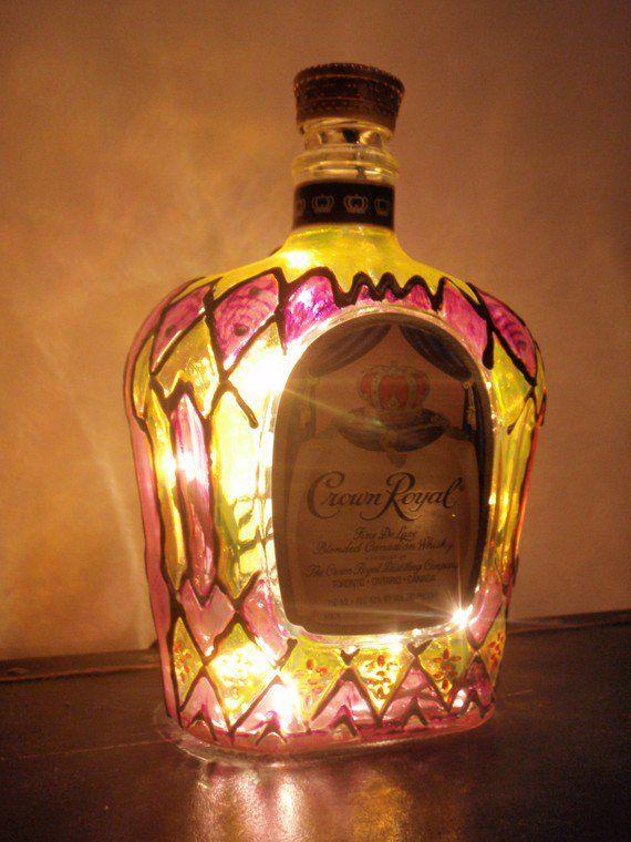 Crown royal light liquor bottle lamp hand painted i am so for Liquor bottle art