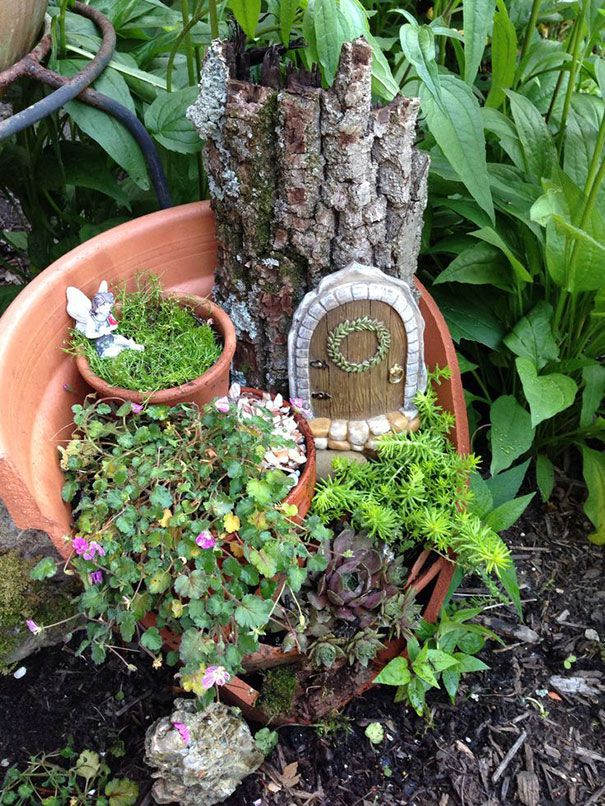 Broken Pots Turned Into Brilliant DIY Fairy Gardens Jardins