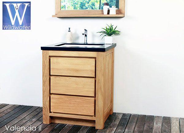meuble salle de bain en teck Valencia 70cm - Woodeez | Salle de ...