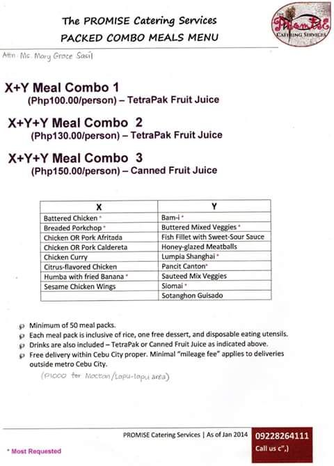 promise catering packed combo meals menu kiddie party packages - catering quotation sample