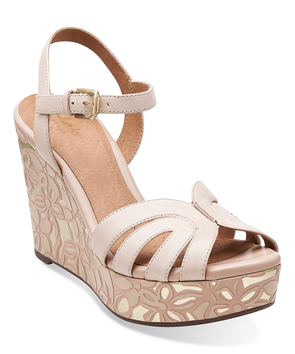 b405b67205f Clarks Nude Amelia Page Leather Wedge
