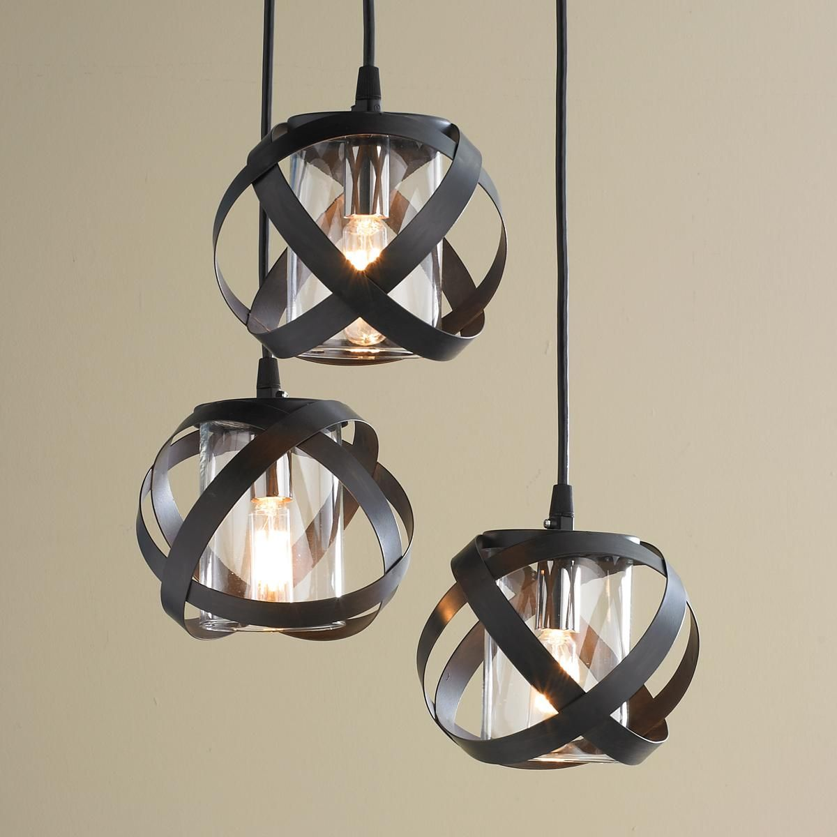 Galaxy metal ribbon pendant chandelier iluminacin galaxy metal ribbon pendant chandelier metal straps in an industrial inspired bronze finish orbit clear glass aloadofball Choice Image