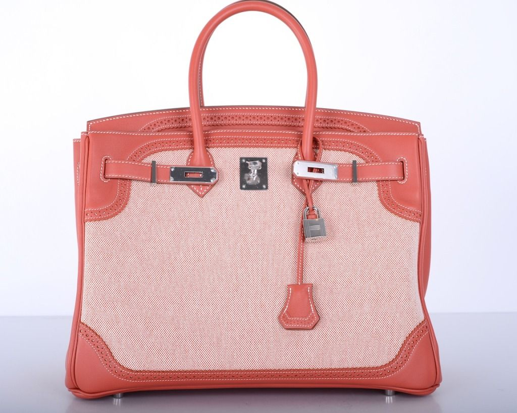 Limited Edition Hermes Ghillies Birkin Bag 35cm Sanguine / Toile Ghillies MustC | From a collection of rare vintage handbags and purses at http://www.1stdibs.com/fashion/accessories/handbags-purses/