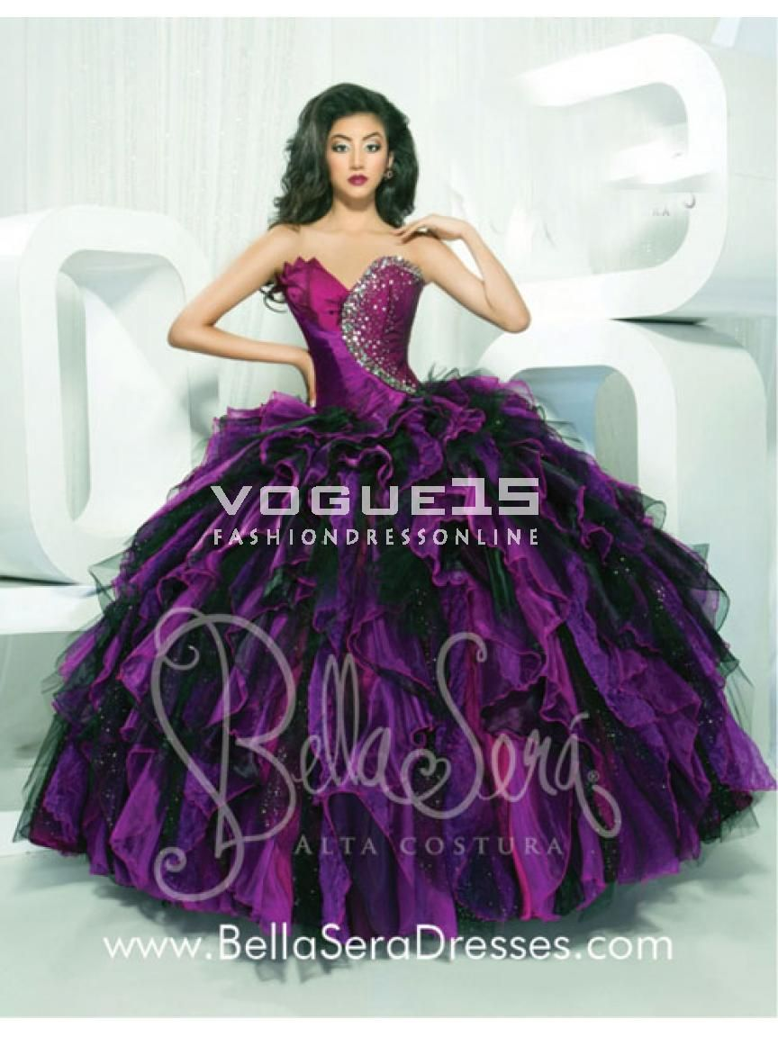 7812cc5d17c 2014 Popular sweetheart neck beading ball gown multi colors puffy purple  and black quinceanera 15 dresses 1145