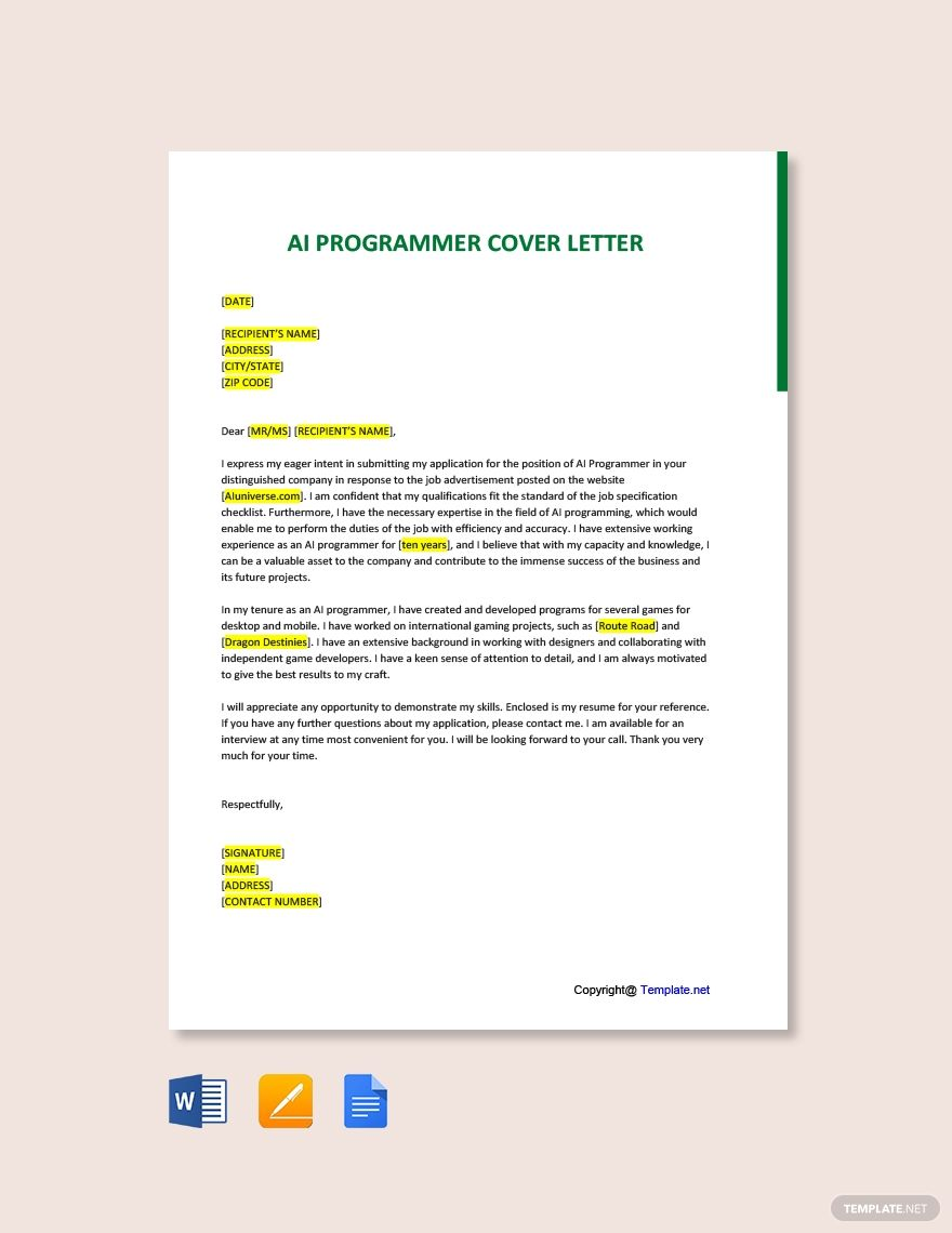 Free Ai Programmer Cover Letter Template Ad Ad Programmer Ai Free Template Let Cover Letter Template Cover Letter Template Free Letter Templates