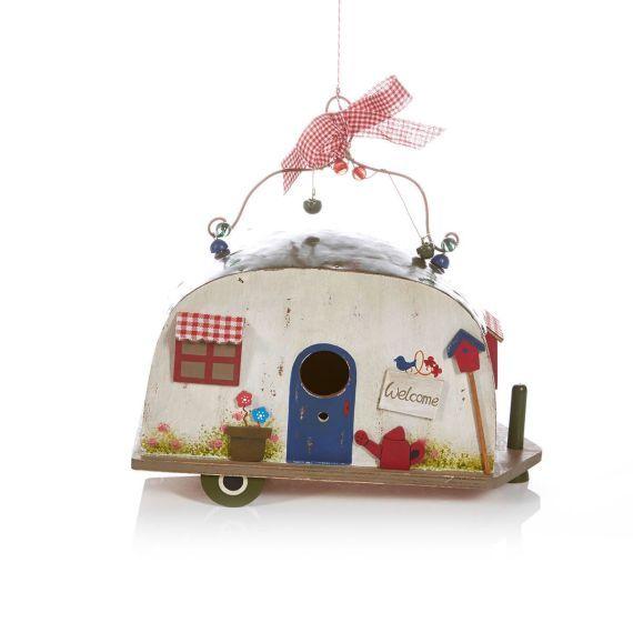 vogelhaus wohnwagen retro zum h ngen holz vorderansicht gartenh uschen und caravans. Black Bedroom Furniture Sets. Home Design Ideas
