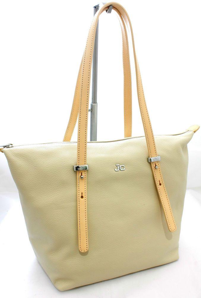 Borsa Shopping in pelle due spalline media bag ladies JackyCeline ArtB106 Beige