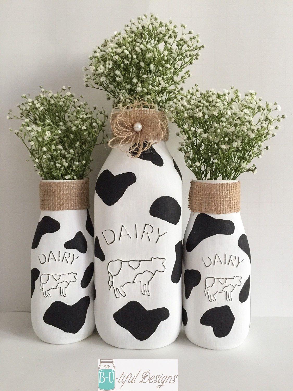 Cow Milk Bottles Kitchen Decor Farm Theme Party. Rustic Kitchen ...