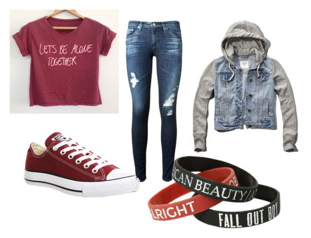 """""""FALL OUT BOY"""" by bandsevelyn on Polyvore featuring AG Adriano Goldschmied, Converse and Abercrombie & Fitch"""