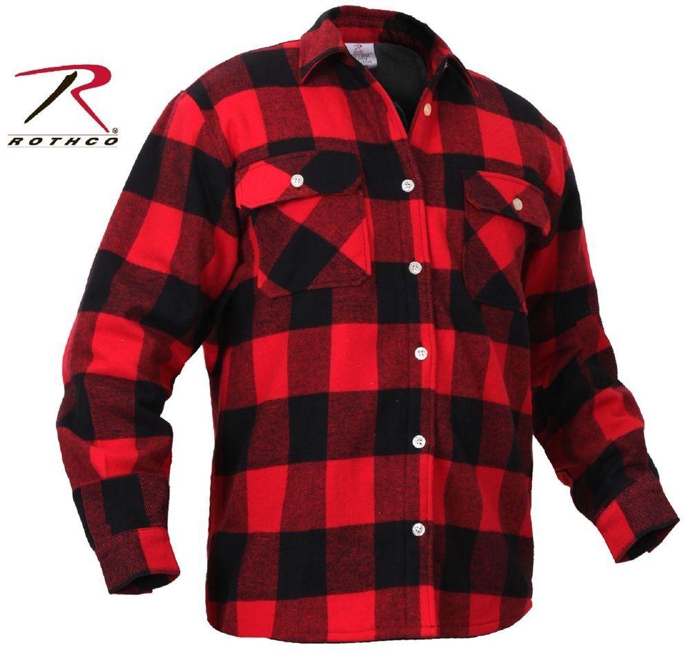 Flannel t shirts  Mens FleeceLined Plaid Flannel Shirt  Rothco Red u Black Cotton