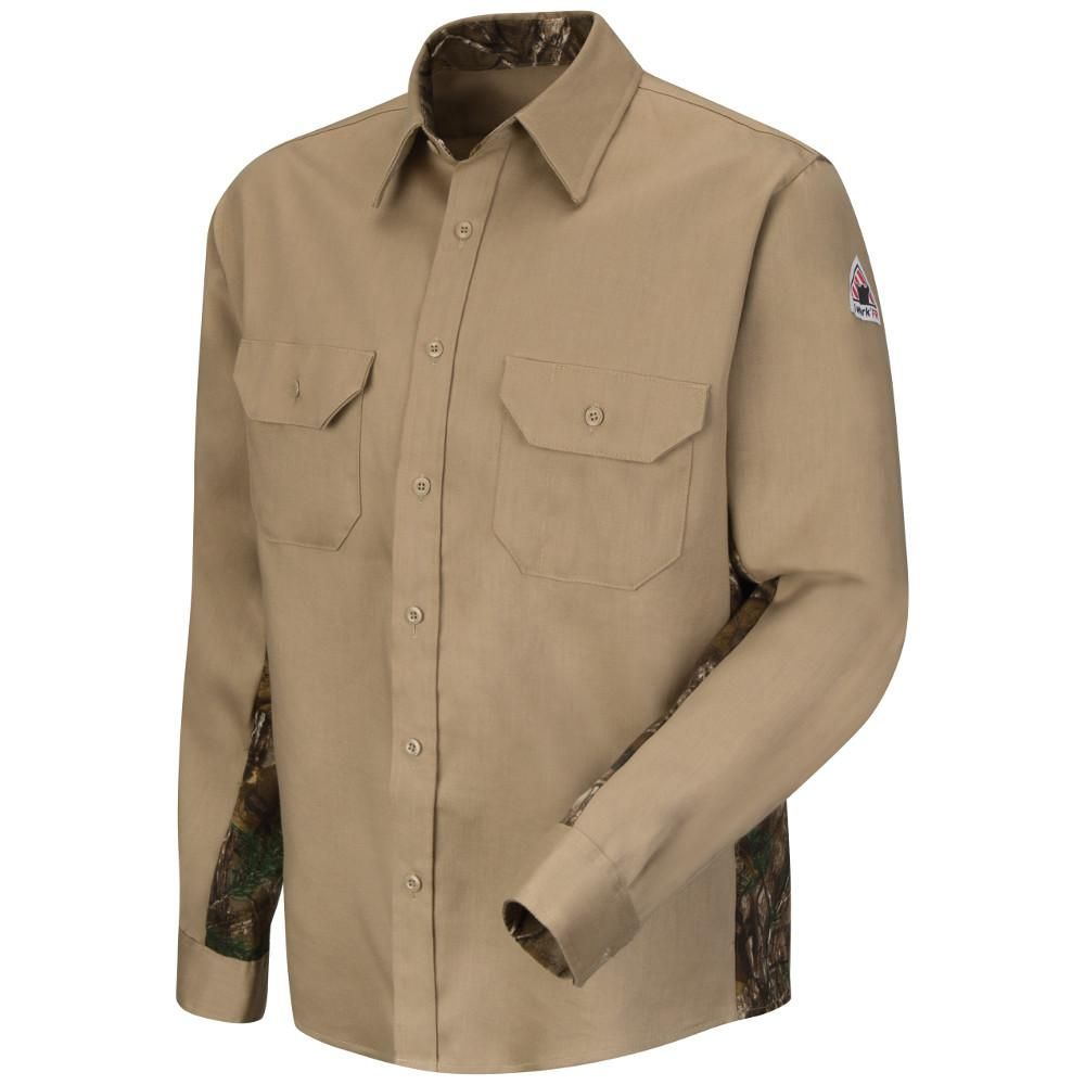 9386dea8840 Bulwark Excel FR ComforTouch Men s 2X-Large (Tall) Khaki (Green) Dress  Uniform Shirt