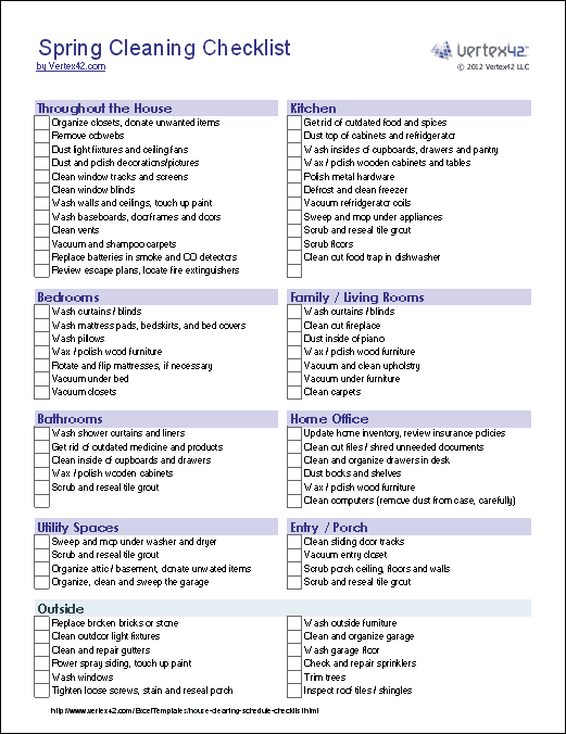Spring Cleaning Checklist This Site Has All Kinds Of Free