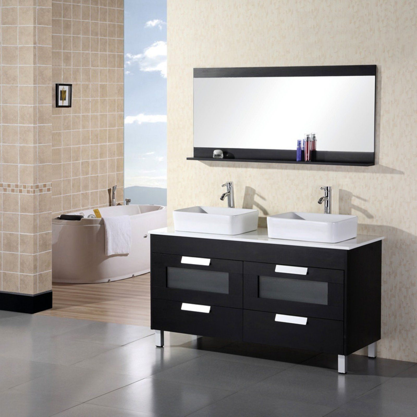 Design Element Dec019 Francesca 55 25 In Double Bathroom Vanity
