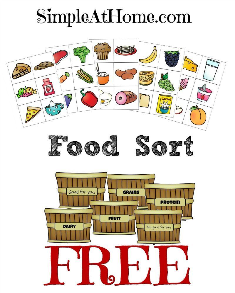 FREE Food Groups Sort Printables Group meals, Preschool
