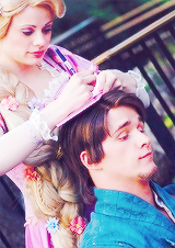 """mickeyandcompany: """"Favorite photos of Rapunzel and Flynn Rider (photo credits are captioned) """""""