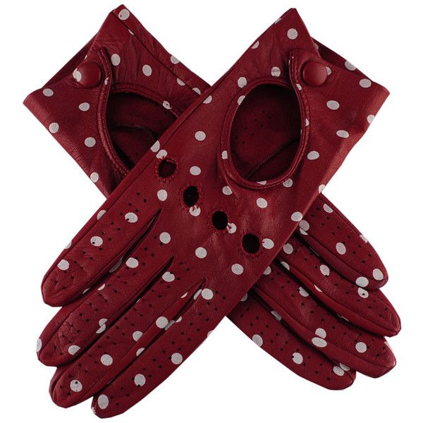 Red and White Polka Dot Italian Leather Driving Gloves (670 CNY) found on Polyvore studded gloves 镶嵌手套 20121210
