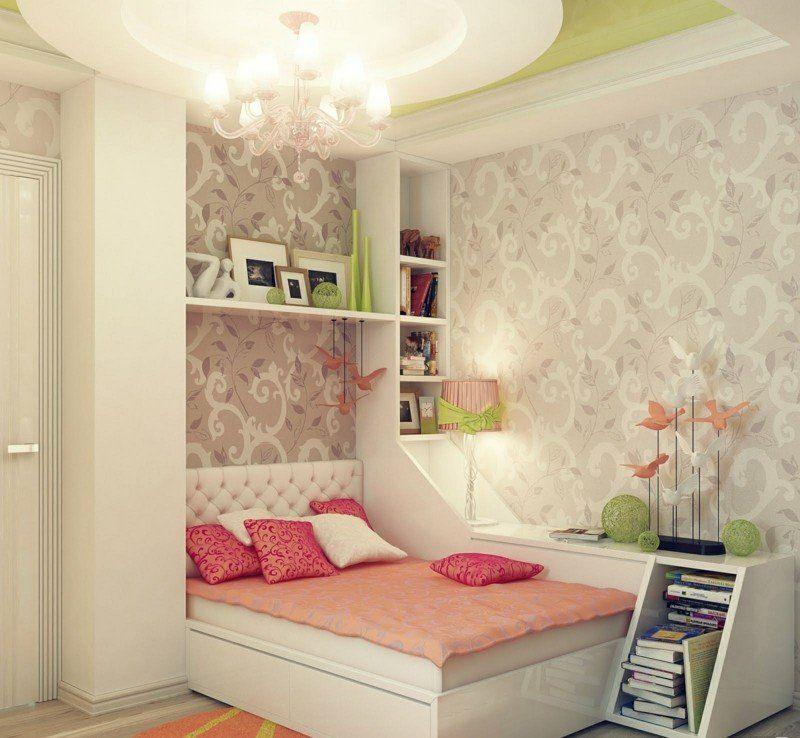 Das Mädchen Zimmer kann romantisch mit Tapete gestaltet werden - romantische schlafzimmer landhausstil