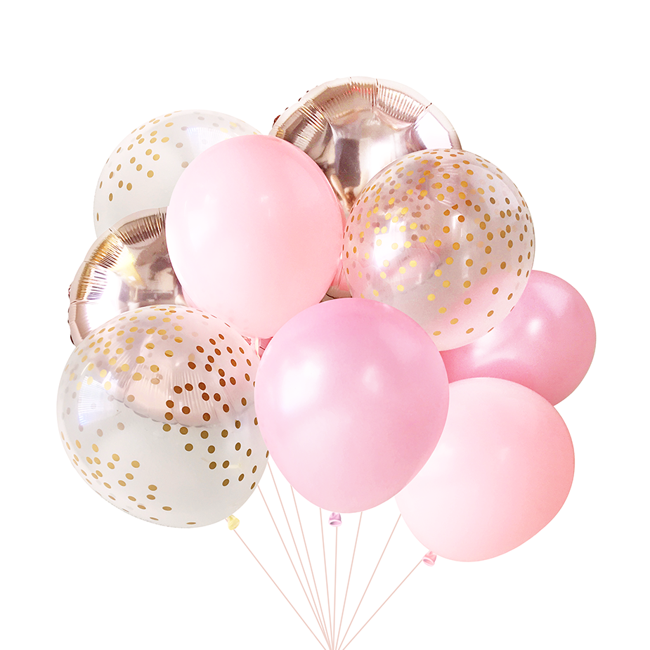Baby Pink Rose Gold Balloon Bouquet 9 Pack Pink Balloons Baby Shower Balloons Girl Balloon Bouquet