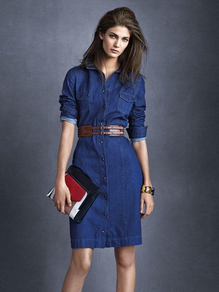 Style jean dress 7 day | Denim shirt dress outfit, Denim dress ...