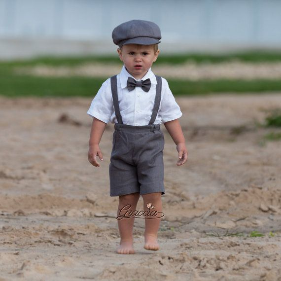 Ring bearer newsboy outfit Baby boy linen suit Wedding boy formal ...