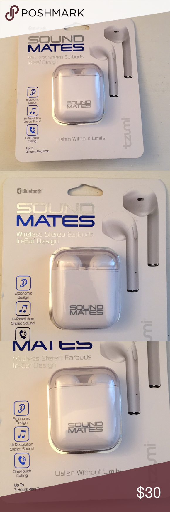 Sold😊Sound Mates Wireless Earbuds in-ear design New in box