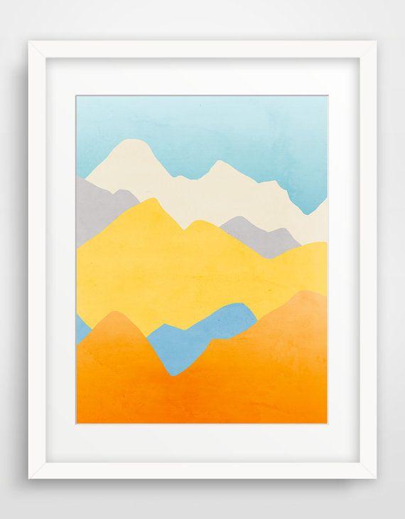 Colorful Abstract Art Print, Large Wall Art, Mountain Print ...
