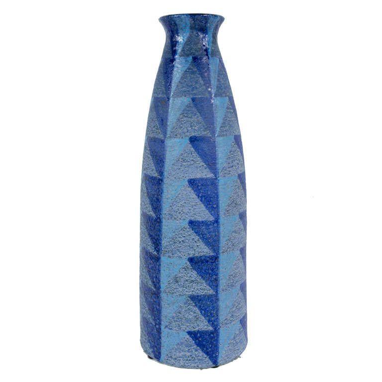 Tall Blue Geometric Designed Ceramic Vase By Bitossi Bitossi