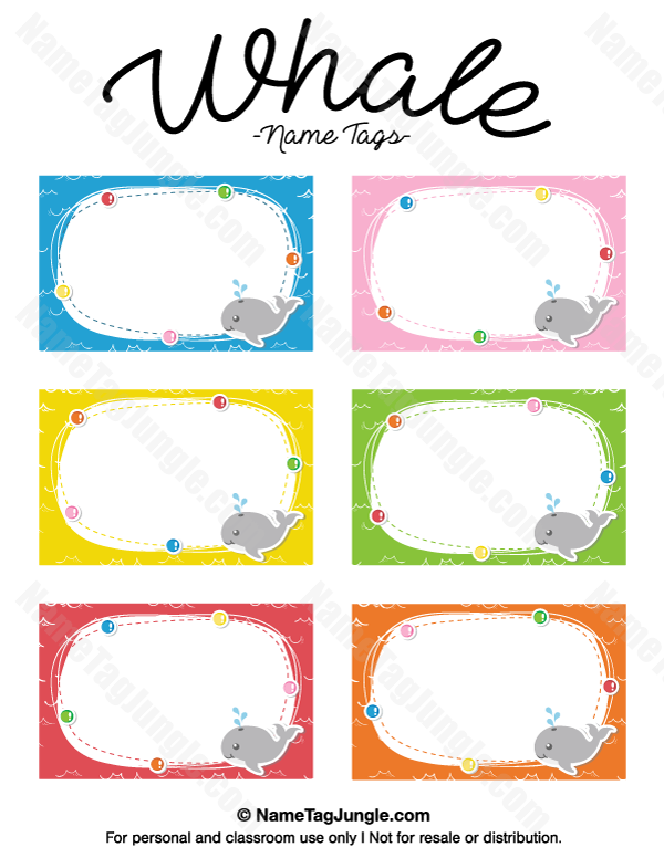 Free Printable Whale Name Tags. The Template Can Also Be Used For Creating  Items Like  Name Labels Templates Free