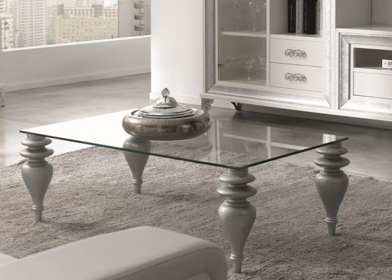 Table basse rectangulaire avec plateau en verre et pieds en bois tourné, finitions en feuille d  # Table Basse Plateau Verre Pied Bois
