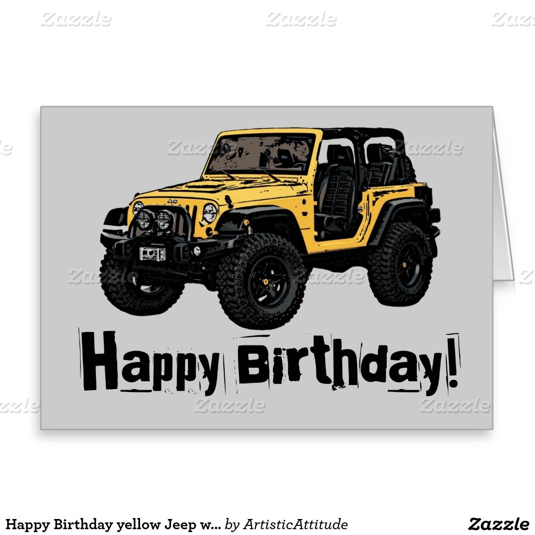 Happy Birthday Yellow Jeep Wrangler Greeting Card