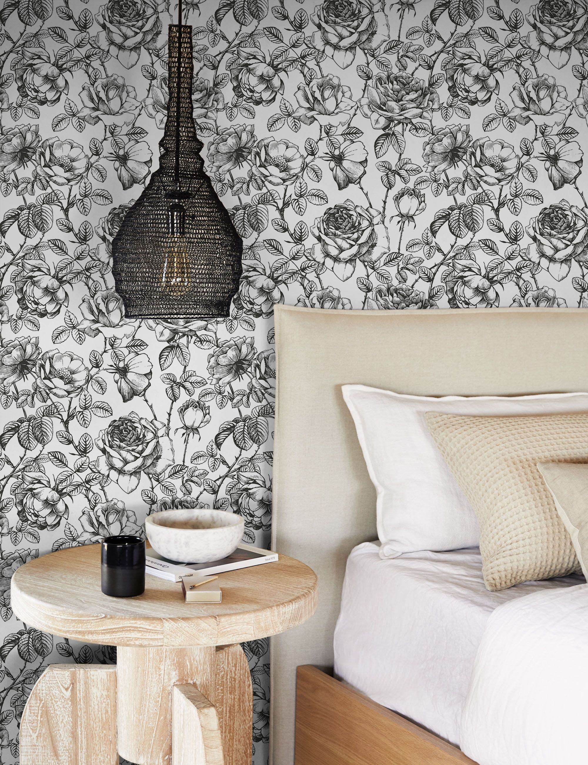 Anewall Black And White Floral Wallpaper In 2021 Master Bedroom Wallpaper Wallpaper Walls Decor Home Wallpaper
