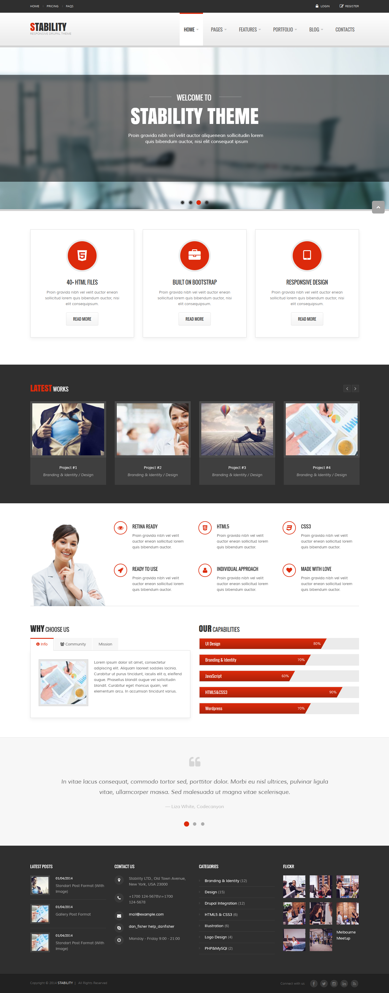 Stability Is A Clean Multipurpose And Responsive Theme It Is Suitable For Your Corporate Business Sites A Creative Agency Or A Portfolio Proje Com Imagens
