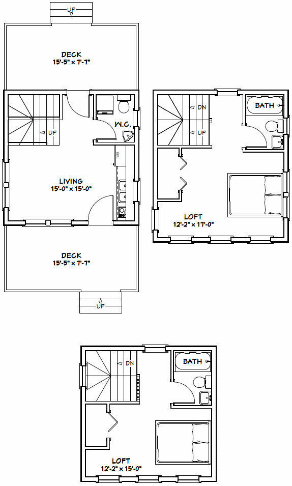 16x16 Tiny House 671 Sqft Pdf Floor Plan Model 22 Ebay In 2020 Tiny House Floor Plans Garage House Plans Tiny House Plans