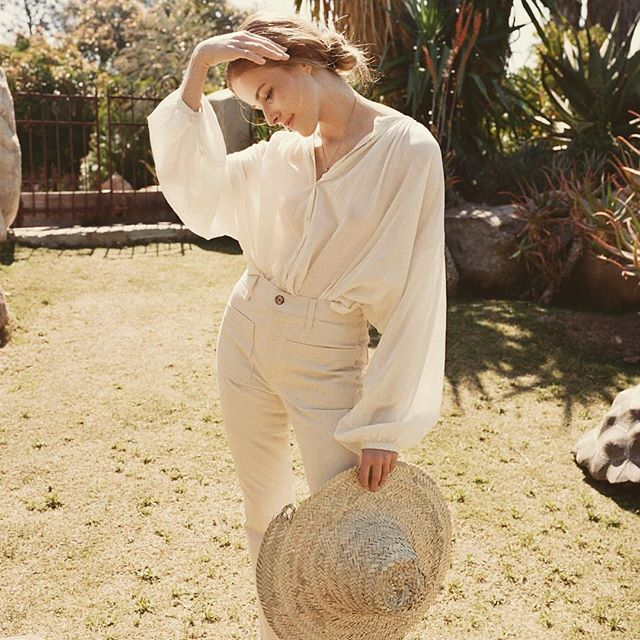 The Jane Blouse in seasalt available for pre-order now and Souk Hat available at www.shopdoen.com / #doencollective #summer16