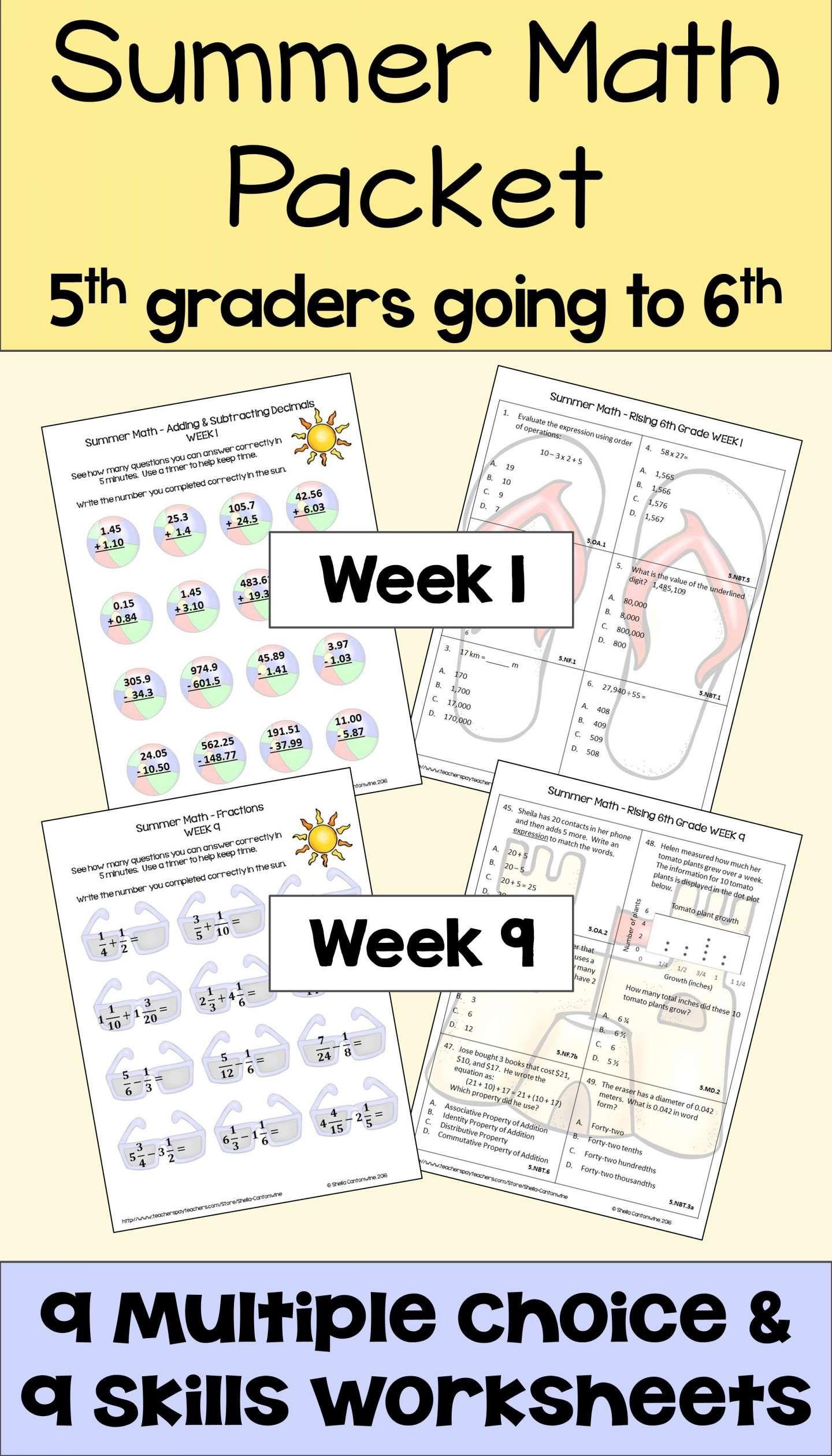 7 Grade 5 Summer Math Worksheet