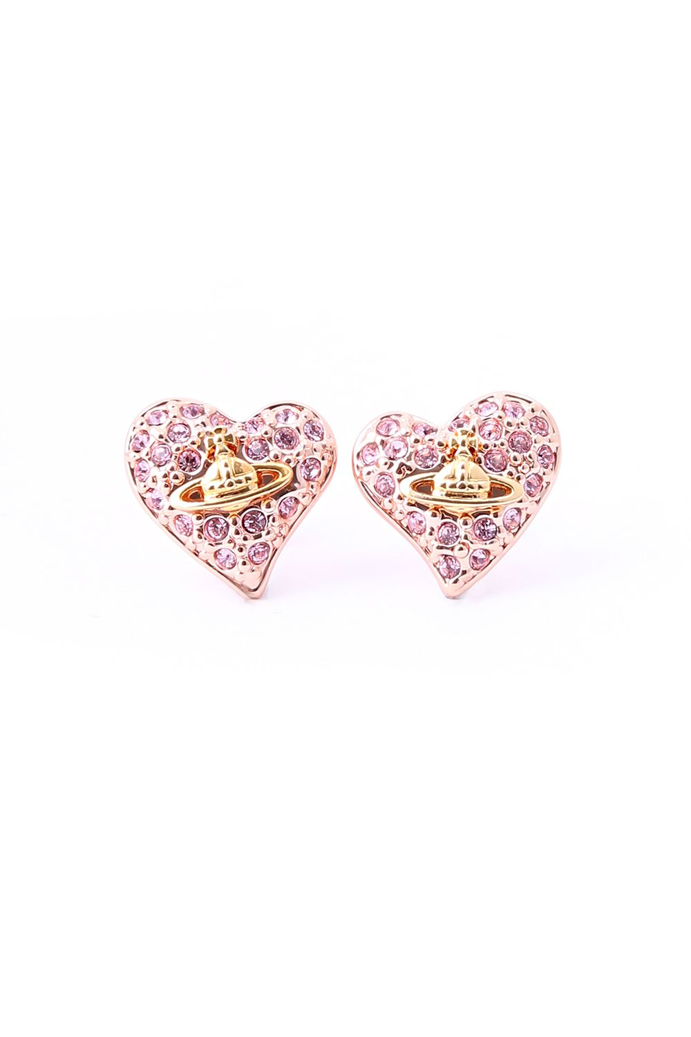 de5d8305b vivienne westwood tiny diamante heart stud earring - light rose http://www.