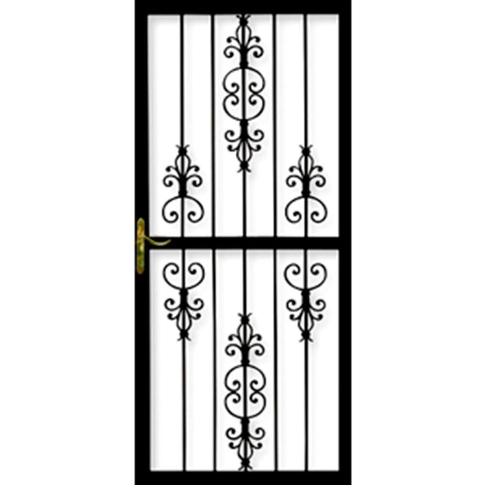 Grisham Heritage 34 In X 84 In Black Steel Right Hinged Security Door Black Gloss Security Door Steel Security Doors Door Design